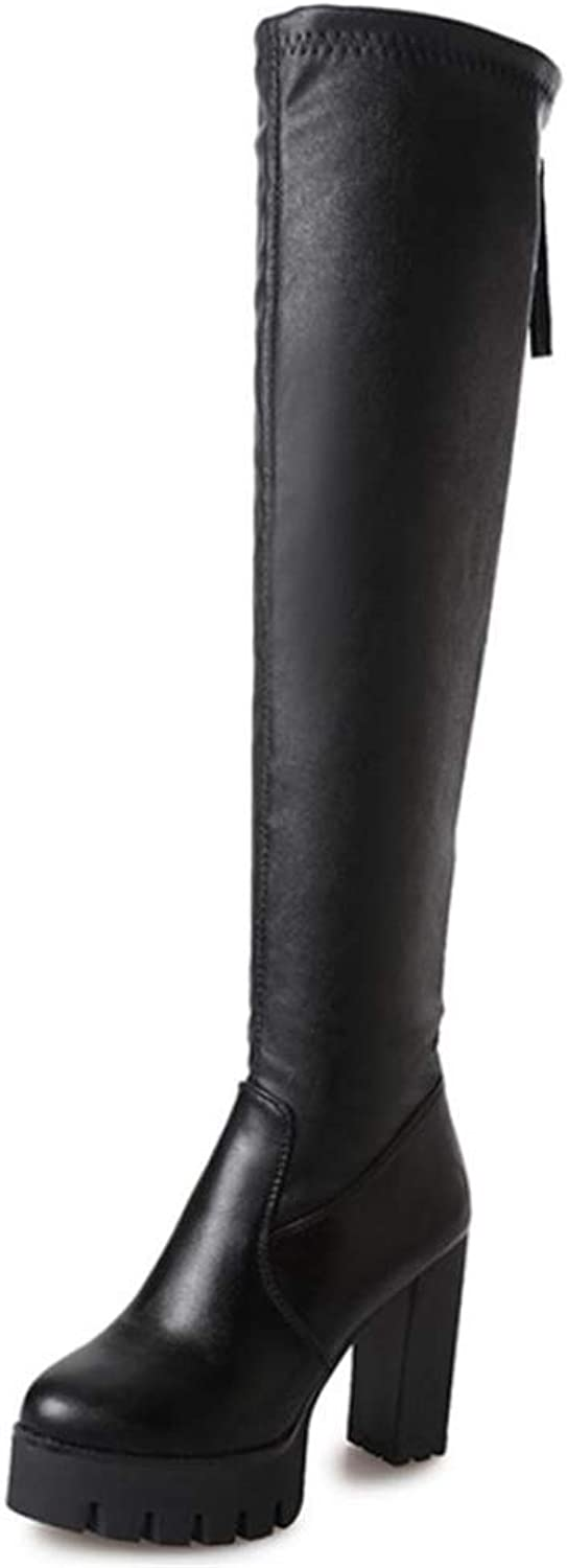 Super frist Women's Sexy Over The Knee Stretch Boot - Trendy Low Block Heel shoes - Easy Heel Boot