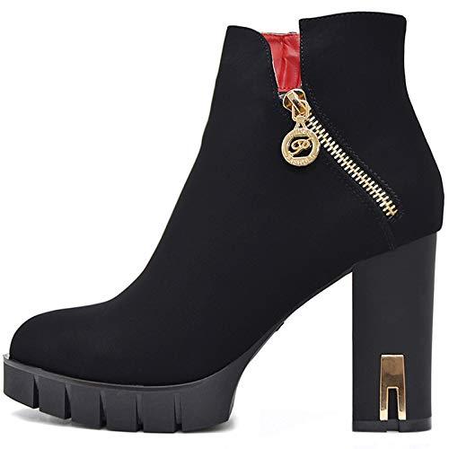 Plateau Damen Schuhe Schwarze Blockabsatz High Heels Ankle Boots Stiefeletten Kurz Stiefel mit Reißverschluss (Schwarz Samt, Numeric_40)