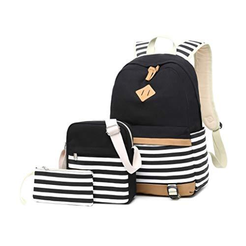 Backpack Girls School,Girls School Bags Set, Bookbags + Shoulder bag + Pouch 3 in 1 (8810 Black 3pcs)