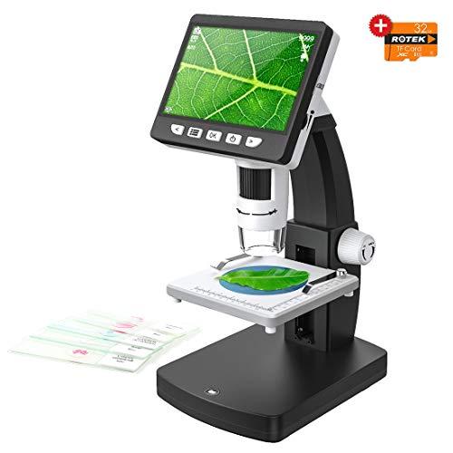 ROTEK HDMI LCD Mikroskope, 4,3 Zoll Display 1080P 1000X Digitalmikroskop 32G Speicher 2600mAh Wiederaufladbare Lithiumbatterie Tragbare Handmikroskopkameras Beobachtung Reparatur für Kinder, Studenten