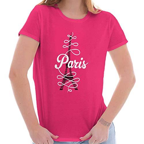 Paris Script Eiffel Tower French Parisian Ladies T Shirt 08 Womens Pink T-shirt