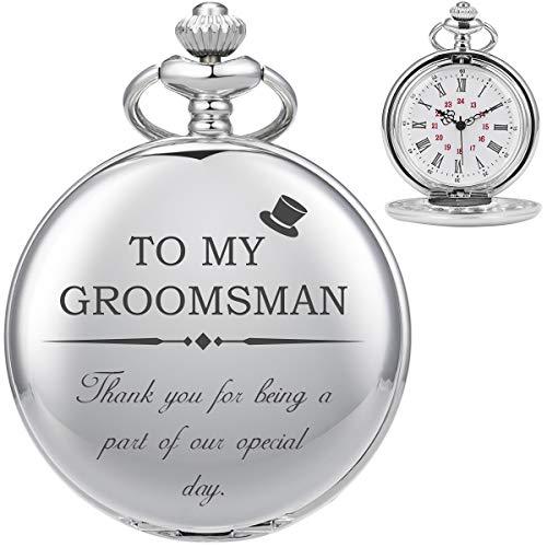 Taschenuhr-ManChDa Personalisierte Gravierte Groomsmen Taschenuhr Quarz Taschenuhr - Groomsman Geschenke für Hochzeit Trauzeuge Geschenke - Gravierte Groomsmen Taschenuhr Hochzeitsgeschenk