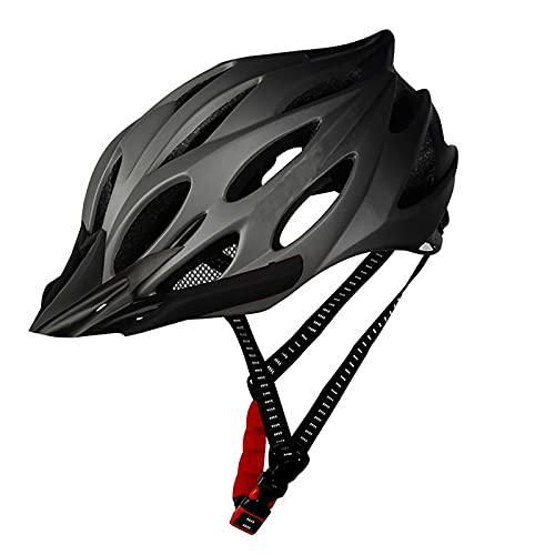 G&F Casco Ciclismo Bicicleta Montaña con Visera, Luz Trasera LED y Casco de Bicicleta Ligero para Adultos (Color : Black)