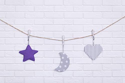 Amilian® Hängedeko Stern Herz Mond 3 Stück Design4 Wanddeko Anhängsel Gehänge Baby für Kinderbett NEU