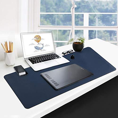 GUBEE Wielofunkcyjna podkładka na biurko ze skóry PU, wodoodporna antypoślizgowa antypoślizgowa podkładka pod mysz do biura, domu i podróży, duży rozmiar 900 x 400 x 2 mm (ciemnoniebieski + żółty)
