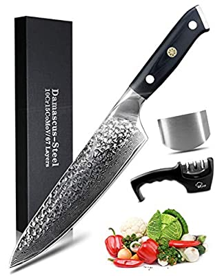 MYVIT Damascus Chef Knife Japanese Kitchen Knife 8 inch Professional Cooking Knife VG10 Steel [Knife Sharpener Finger Guard]