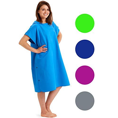 Fit-Flip Surf Poncho-Größe L-blau/grün_ Kapuzenhandtuch, Poncho zum umziehen, Tuch mit Kapuze, Umkleidemantel
