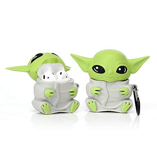 Derhom Airpods Funda Divertida y Linda Compatible con Apple Airpods 1 y 2 [Yoda Baby] Niñas, Niños o Parejas (Azul Claro)