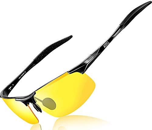 ATTCL Herren HD Nachtfahrbrille Nachtsichtbrille Autofahren Treiber Glasses Al-Mg Metallrahme Ultra leicht 8177 Night Vision