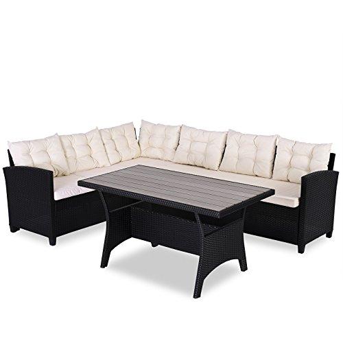 Casaria Poly Rattan Sitzgruppe Ecklounge Lissabon WPC Garten Tisch 7cm Auflagen 340 cm Sitzfläche Eckbank Sitzgarnitur - Schwarz