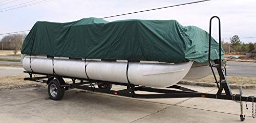 """New Green 24 FT VORTEX Ultra 5 Year Canvas Pontoon/Deck Boat Cover, Elastic, Strap System, FITS 22'1"""" FT to 24' Long Deck Area, UP to 102"""" Beam (Fast - 1 to 4 Business Day DELIVERY)"""