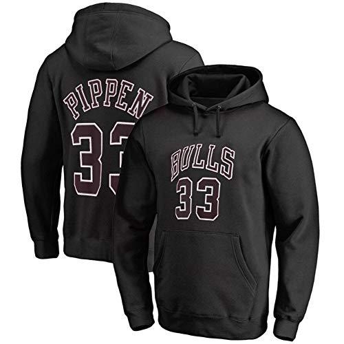 Herren Basketball Hoodie , Scottie Pippen # 33 Chicago Bullen zur Seite Fahren Lose (Color : Black, Size : M)