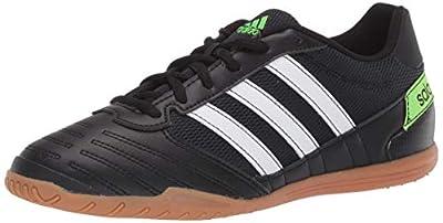 adidas Men's Super Sala Soccer Shoe, Black/White/Solar Green, 10