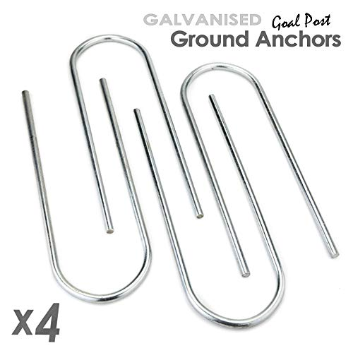 ST Metals Football Goal Pegs/Ground Anchors - Pack of 4 U-Shaped Pegs - Made from 8mm Diameter, Heavy Duty Galvanised Steel. Extra Long - 10.5-inch for Firmer Hold. Fits all Samba/Forza Goals