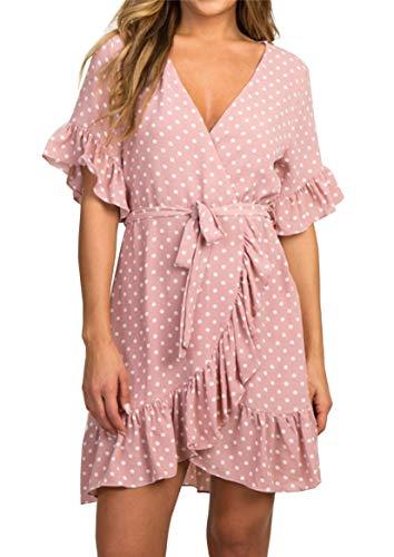 Sommerkleid Damen Kurzarm Elegant V-Ausschnitt Knopfleiste Polka Dot Kurze Strand Freizeitkleider mi Gürtel (2-Rosa, Medium)