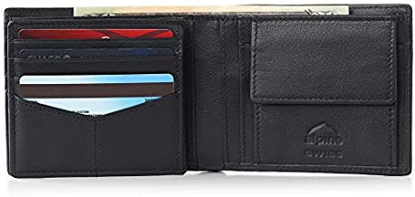 Alpine Swiss RFID Protected Men's Max Coin Pocket Bifold Wallet with Divided Bill Section Camden Collection Nappa Black