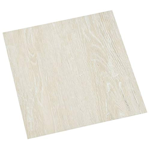 Tidyard 55 STK. PVC-Fliesen Selbstklebend Vinyl-Fliesen Bodenbelag Vinylboden Laminat Dielen Laminatboden Fußboden 5,11 m² Creme