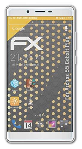 atFolix Panzerfolie kompatibel mit Archos 55 Cobalt Plus Schutzfolie, entspiegelnde & stoßdämpfende FX Folie (3X)