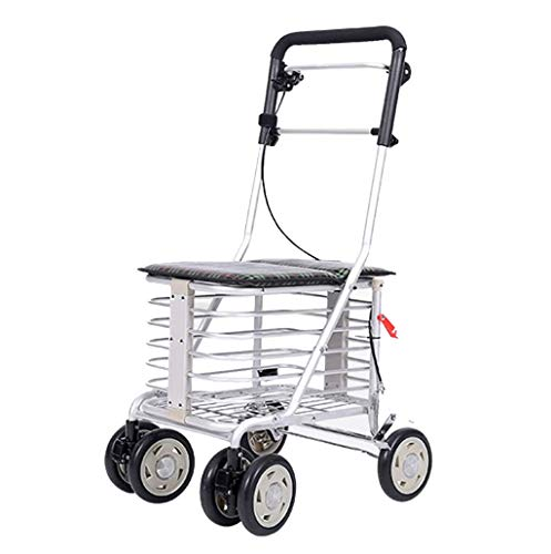 Aluminum Alloy Lightweight Folding 6 Wheel Rollator Walker with Rod Brake/Collapsible Waterproof Shopping Cart Trolley/Elderly Old Age Walking Seat Small Cart-42x50x84-94cm Practical