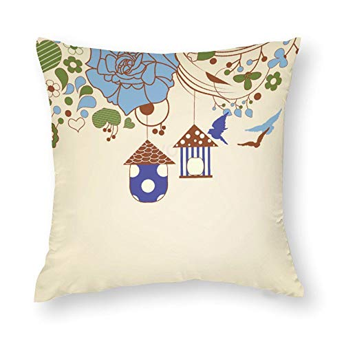 YY-one Decorative Throw Pillow Covers Birds Flying And Bird Cages in A Floral Garden Decorative Throw Pillow Case Cushion Cover Cotton For Sofa Couch Chair Seat,Square 20 X 20 Inches