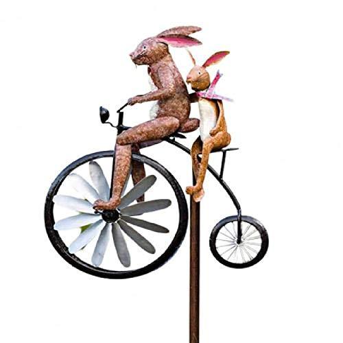 DAISM Estilo antiguo bicicleta viento spinning metal pila, rana bicicleta interior y exterior decoración, patio y jardín decoración