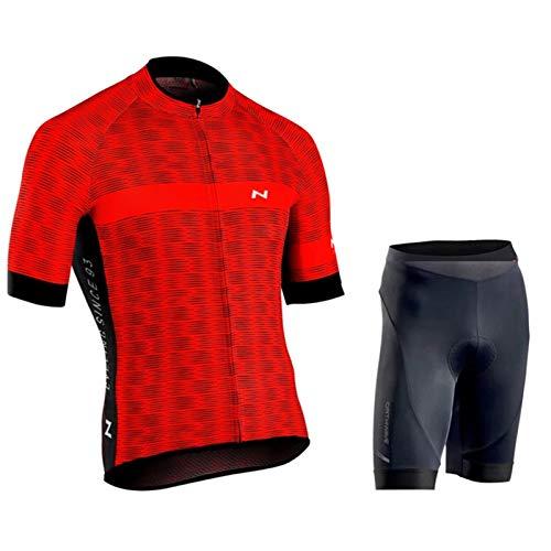 Maillot de Ciclismo para Hombre, Secado Rápido Aire Libre Jersey Kit + Pantalones Cortos para Bicicleta Montaña Ropa de Equipo Profesional con Ropa de Gel 20D Acolchada ( Color : Red 3 , Size : D(L) )