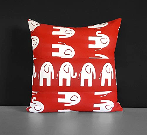 Hirola Funda de almohada de elefante rojo