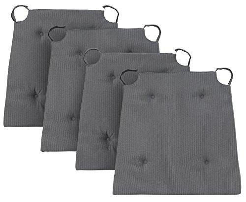 Traumnacht Basic Cojines de silla, 4 unidades, Gris, 40 x 42 x 4 cm