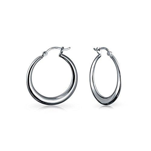Geometrische Einfache Große Runde Graduierte Tube Big Hoop Ohrringe Für Teen Für Frauen 925 Sterling Silber 1,25 Zoll Dia