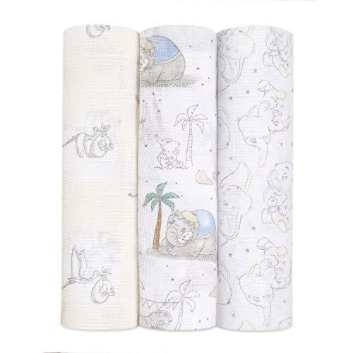 aden + anais Mantas de Muselina 100% algodón para bebés y niños, 120 x 120 cm, Ideal para recién Nacidos y bebés, Ducha, Paquete de 3, bebé Disney - My Darling Dumbo