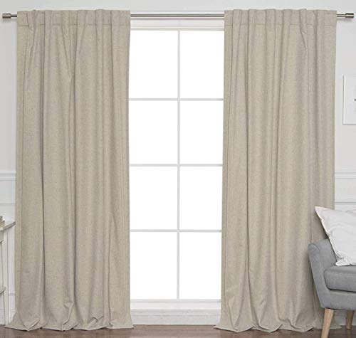 2Pack Flax Cotton Reverse tab top Curtain Panel 50x96 Natural