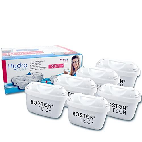 Boston Tech 6 Cartuchos Hydro Pure+, filtros de agua para jarra filtradora compatible con Brita Maxtra y Maxtra+, Efecto Prolongado (12 Meses, 6x60 días Cada Filtro) Para Cal, Cloro y Microplásticos