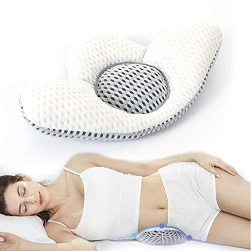 NIUPSKY Lendenkissen, Orthopädisches Kissen Rückenkissen für können Lindert Schlaf und Taille Rückenschmerzen Ischias Schwangerschaft Hüfte, Justierbare Höhe