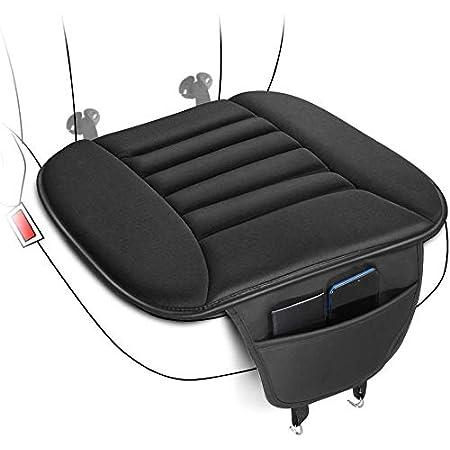 Tsumbay Cojín para asiento de coche, cojín para asiento de conductor, con espuma viscoelástica cómoda y parte inferior de goma antideslizante con bolsa de almacenamiento, transpirable para el interior del coche, para suministros de coche, silla de oficina, color negro