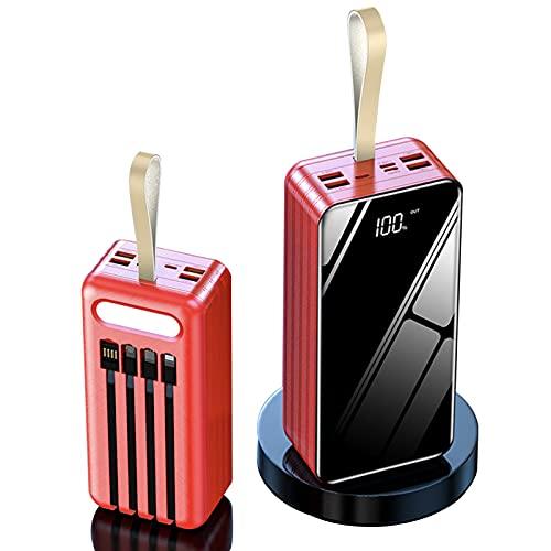LIMIAO 100000Mah USB Power Bank Cargador portátil Diseño Simple, Elegante y Compacto Paquete de batería de Carga rápida 2.1A, para iPad iPhone Samsung Google Airpod Android,Rojo