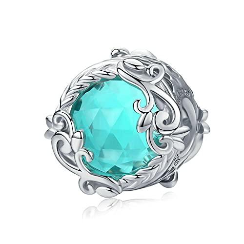 LIJIAN DIY 925 Sterling Jewelry Charm Beads Winding Blue Round Blue Glass Crystal Haga Originales Pandora Collares Pulseras Y Tobilleras Regalos para Mujeres