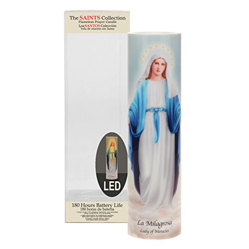 The Saints Collection Lady of Miracles Flickering LED Prayer Candle with Timer, Prayer in English and Spanish, Religious Gift Ideas for Mothers Day, Fathers Day, and Birthdays
