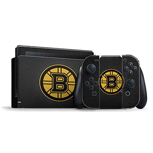 Skinit Decal Gaming Skin Compatible with Nintendo Switch Bundle - Officially Licensed NHL Boston Bruins Black Background Design