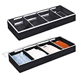 Lifewit Under Bed Clothes Organizer Large Adjustable Dividers Storage Bag with Durable Fabric, Reinforced Handle, 4 Clear Window for Clothing, Shoes, Blankets, Sweaters, Toys, Black, 2 Pack