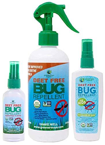 Greenerways Organic Bug Repellent Family Pack with Bug Repellent for Kids (4 oz), Bug Repellent (12 oz), and Bug Repellent (2 oz)