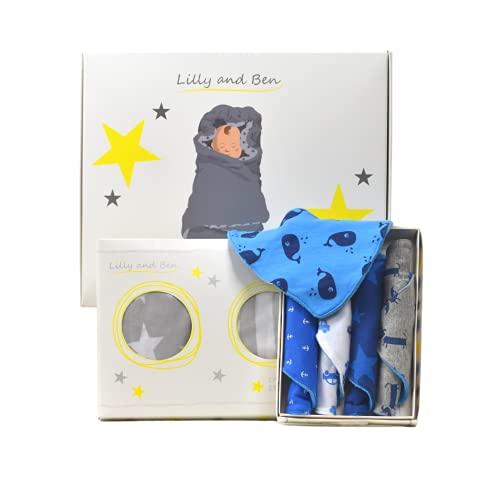 Lilly and Ben Juego de regalo para bebé para niños I Set de regalo con saco para envolver I Pañuelo triangular I Manta de envolver I Regalos para nacimiento