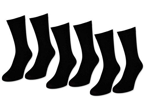 6 | 12 | 24 Paar Socken Herren Schwarz Baumwolle (39-42, 6 Paar | Schwarz)