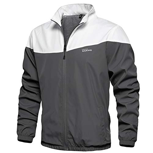 Mens Casual Lightweight Jacket Softshell Jacket Coat, Gray-L