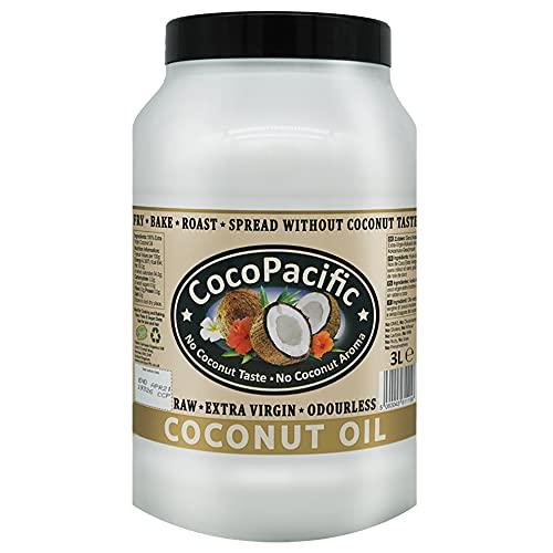 CocoPacific, olio extravergine di cocco non raffinato, inodore, 3 litri