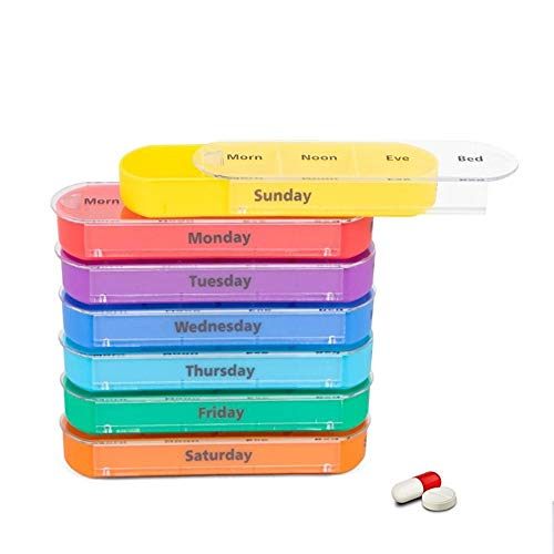 Pill Storage Case with PU Leather Case 28 Compartments Travel Medication Reminder Daily Monday to Sunday Compartments