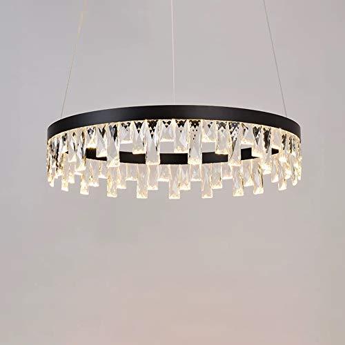 Europäische Kristall-Kronleuchter, Lüster Nordic LED-runde schwarze Aluminium Beleuchtung Dekoration Leuchter-Deckenleuchte Moderne Luxuxwohnzimmer Halle Metall Pendelleuchte (Color : 100cm)