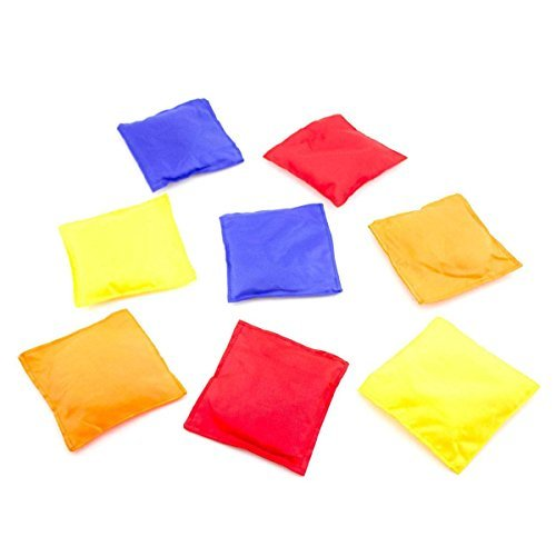 Adorox Weather Resistant 5'x5' Nylon Cornhole Bean Bags for Indoor Activity Games Lawn Floor Beach Toss Games (Set of 12 Assorted Colors)