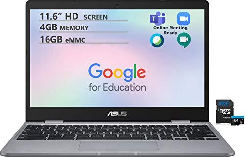 ASUS Chromebook, 11.6' HD Screen, Intel Celeron N3350 Processor up to 2.4GHz, 4GB Memory, 16GB eMMC Flash Memory, Webcam, WiFi, Chrome OS, Gray, Online Class Ready, KKE 64GB MicroSD Card