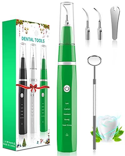 Kit Pulizia Denti,MHDYT Sbiancamento Denti Rimuovi Placca Denti con Specchio Denti,Ricarica USB-C 5 Modalità di Sbianca Denti per Cura Orale Domestico con Luce LED(verde)