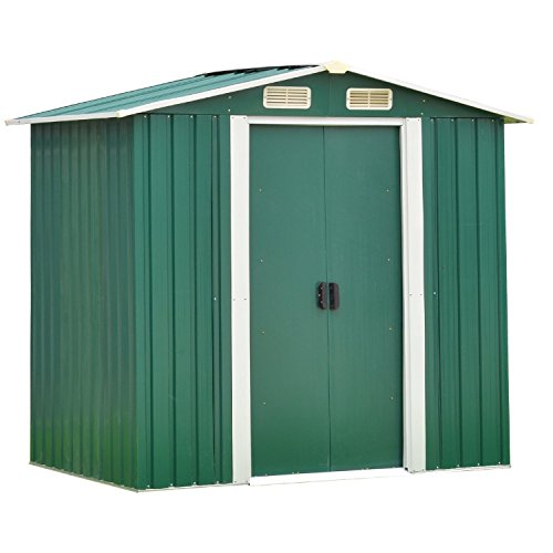 5A-Parts Outdoor Tool Storage Sheds, Patio Steel Utility Tool House for Garden Yard Garage Backyard Lawn w/Sliding Door